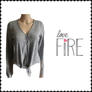 Love, Fire Button Down Cardigan With Bottom Tie
